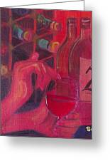 Red Wine Room Greeting Card by Debi Starr