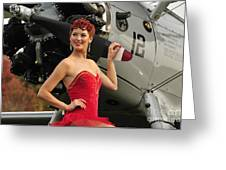 Redhead Pin-up Girl In 1940s Style Greeting Card by Christian Kieffer