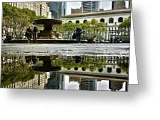 Reflecting in Bryant Park Greeting Card by Shmuli Evers