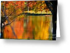 Reflection  Of My Thoughts  Autumn  Reflections Greeting Card by Peggy  Franz