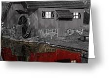 Reflection of Red Mill Greeting Card by Bill Woodstock