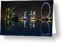 Reflections At Marina Bay Greeting Card by Jenny Zhang