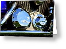 Reflections In The V Twin Greeting Card by Patti Whitten