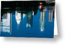 Reflections Of Austin Skyline In Lady Bird Lake At Night Greeting Card by Jeff Kauffman