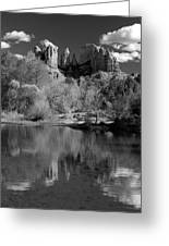 Reflections Of Sedona Black And White Greeting Card by Joshua House
