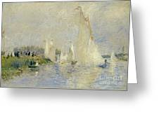 Regatta At Argenteuil Greeting Card by Pierre Auguste Renoir