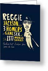Reggie Jackson New York Yankees Greeting Card by Jay Perkins