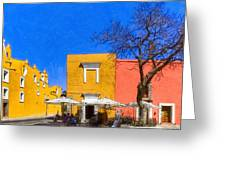 Relaxing In Colorful Puebla Greeting Card by Mark E Tisdale