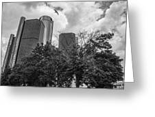 Renaissance Center In Detroit Greeting Card by John McGraw