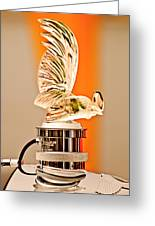 Rene Lalique -coq Nain - 1930 Bentley Speed Six H.j Mulliner Saloon Hood Ornament Greeting Card by Jill Reger