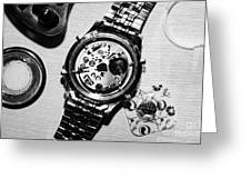 Replacing The Battery In A Metal Band Wrist Watch Greeting Card by Joe Fox