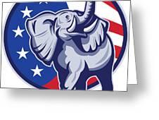 Republican Elephant Mascot Usa Flag Greeting Card by Aloysius Patrimonio