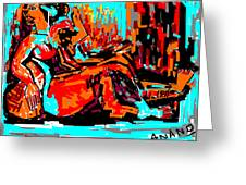 Resting Lady Greeting Card by Anand Swaroop Manchiraju
