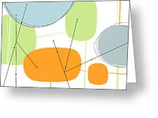 Retro Abstract In Orange And Green Greeting Card by Karyn Lewis Bonfiglio