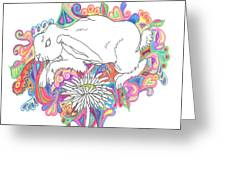 Retro Rabbit Greeting Card by Cherie Sexsmith