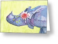 Rhino Whimsy Greeting Card by Mary Ann Bobko