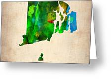 Rhode Island Watercolor Map Greeting Card by Naxart Studio