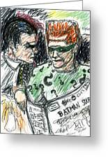 Riddler And Two-face Greeting Card by Rachel Scott