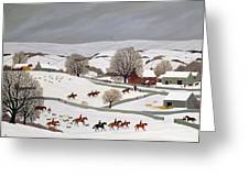 Riding In The Snow Greeting Card by Vincent Haddelsey