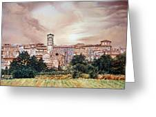 Rieti Panoramic Greeting Card by Michel Angelo Rossi
