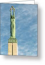 Riga Freedom Monument Greeting Card by Antony McAulay