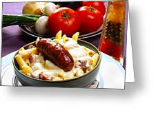 Rigatoni And Sausage Greeting Card by Camille Lopez