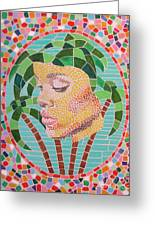 Rihanna Portrait Painting In Mosaic Greeting Card by Jeepee Aero