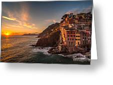 Riomaggiore Rolling Waves Greeting Card by Mike Reid