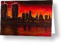 Rising Sun At Nyc Greeting Card by Coqle Aragrev