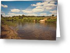 River Flows Greeting Card by Jenny Rainbow