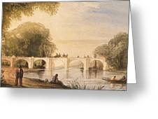 River Scene With Bridge Of Six Arches Greeting Card by Robert Hindmarsh Grundy