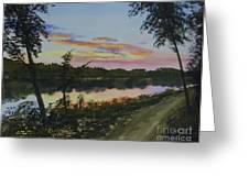 River Sunset Greeting Card by Martin Howard