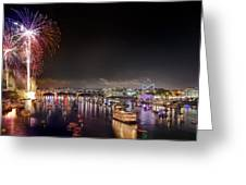 Riverbend Fireworks Greeting Card by Steven Llorca