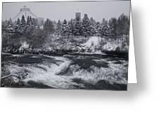 Riverfront Park Winter Storm - Spokane Washington Greeting Card by Daniel Hagerman