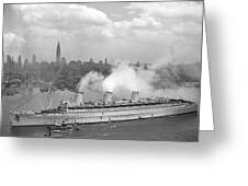 Rms Queen Mary Arriving In New York Harbor Greeting Card by War Is Hell Store