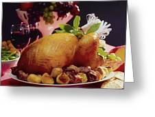 Roast Turkey With Potatoes Greeting Card by The Irish Image Collection