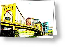 Roberto Clemente Bridge Greeting Card by Jay Nodianos
