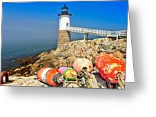 Robinson Point Lighthouse Greeting Card by Adam Jewell