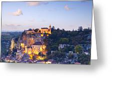 Rocamadour Midi-pyrenees France Twilight Greeting Card by Colin and Linda McKie