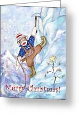 Rock Climbing Sock Monkey Greeting Card by Peggy Wilson