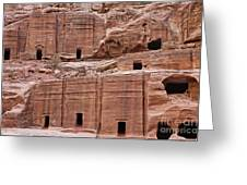 Rock Cut Tombs On The Street Of Facades In Petra Jordan Greeting Card by Robert Preston