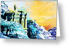 Rock Hewn Monastery Ad-Deir Greeting Card by Catf