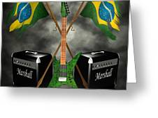 Rock N Roll crest - Brazil Greeting Card by Frederico Borges