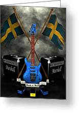Rock N Roll Crest- Sweden Greeting Card by Frederico Borges
