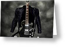 Rock N Roll crest-The guitarist Greeting Card by Frederico Borges