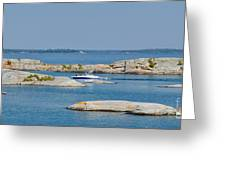 Rocky Islands On Georgian Bay Greeting Card by Les Palenik