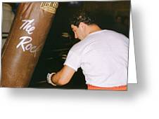Rocky Marciano Vs. Heavy Bag Greeting Card by Retro Images Archive