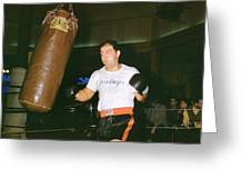 Rocky Marciano Working Heavy Bag Greeting Card by Retro Images Archive