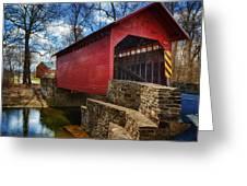 Roddy Road Covered Bridge Greeting Card by Joan Carroll