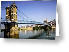 Roebling Bridge In Cincinnati Ohio Greeting Card by Paul Velgos